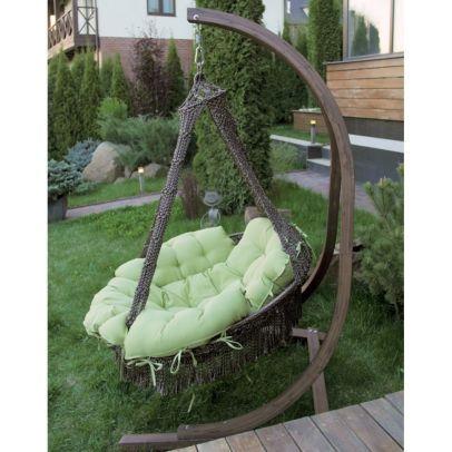 Подвесное кресло КАРТАХЕНА + каркас+ дизайнерские подушки нежно-зелёного цвета!